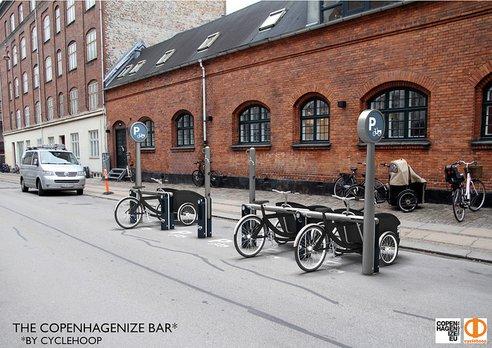 Kodaňský  stĺp-nový dizajn pre parkovanie cargobicyklov