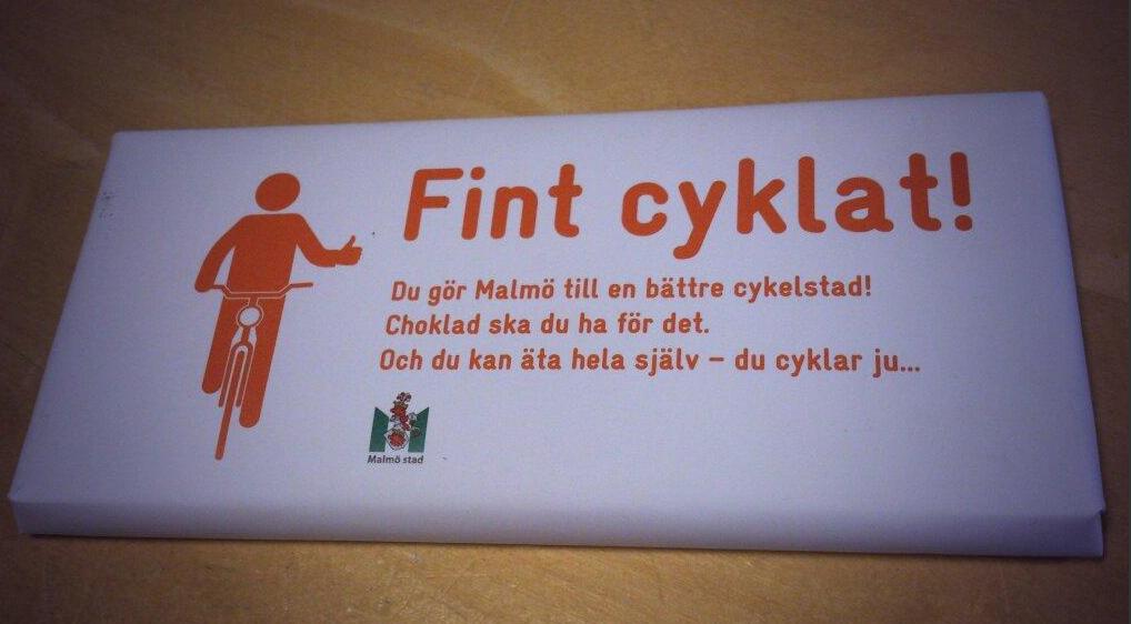 Ak by ste jazdili na bicykli po Malmo,dostali by ste čokoládu.