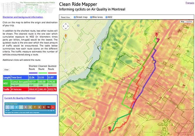 V Montreale vám vyhľadávač cyklotrás nájde menej znečistené ulice