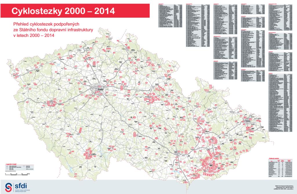 Prostredníctvom SFDI sa vybudovali stovky kilometrov cyklocestičiek v ČR