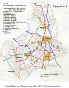 cyklodiaľnice v meste Nijmegen stav 2020