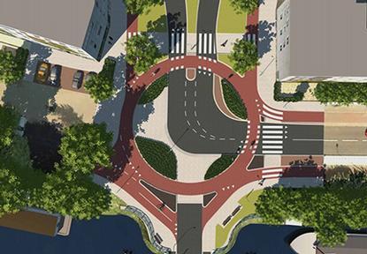 Nový typ okružnej križovatky pre cyklistov v Groningene