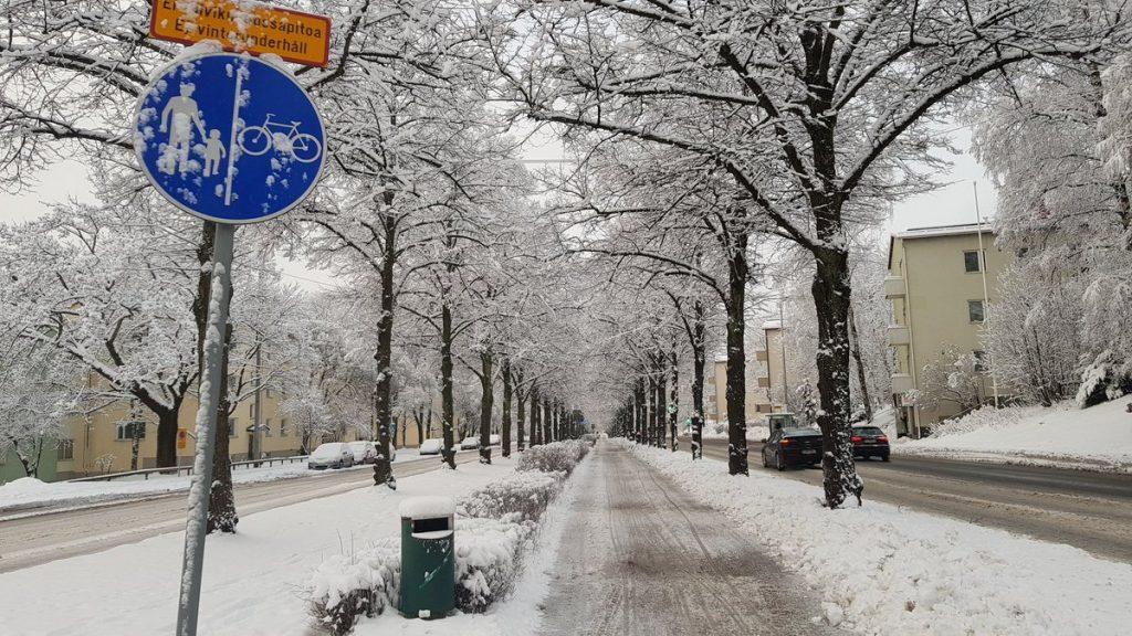 Zimná údržba cyklotrás vo Fínsku