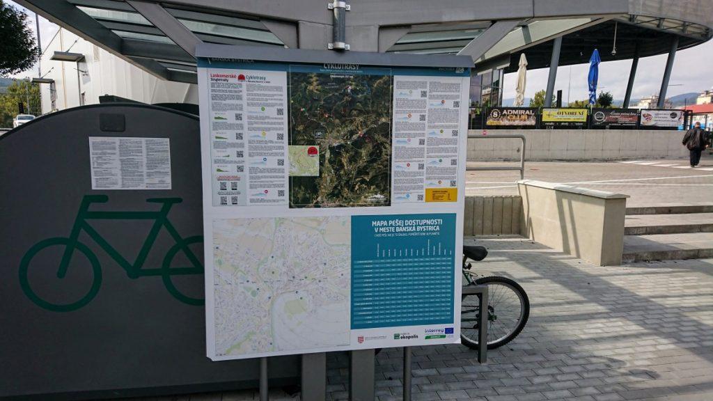 Mapa pešej dostupnosti v Banskej Bystrici