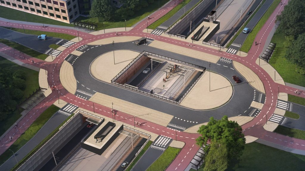 V meste Amstelveen spustili križovatku s preferenciou pre chodcov a cyklistov