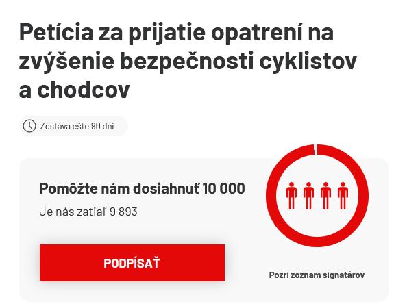 Podporte petíciu za lepšiu bezpečnosť chodcov a cyklistov