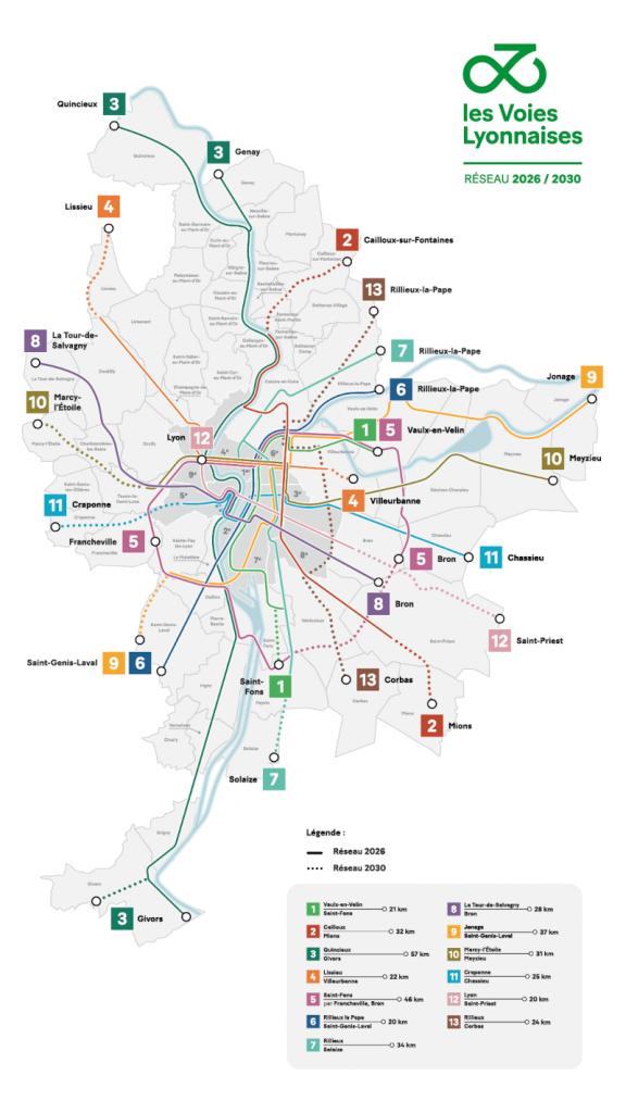Lyon plánuje vybudovať 12 expresných cyklotrás s 355 km